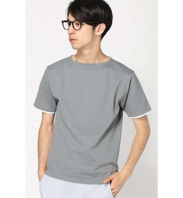 【エディフィス/EDIFICE】 フェイクレイヤードパイナップルボートネックTシャツ [送料無料]