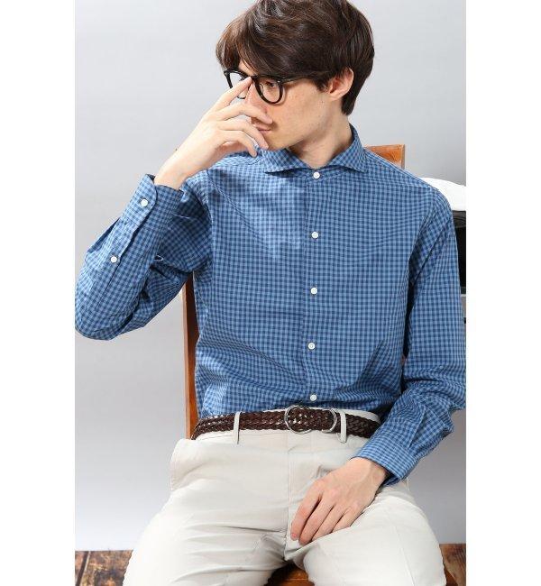 【エディフィス/EDIFICE】 ブルーギンガムワンピースカラーシャツ [送料無料]