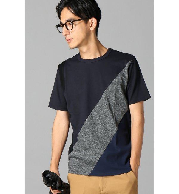 【エディフィス/EDIFICE】 ジオメトリック切り替えクルーネックTシャツ [送料無料]