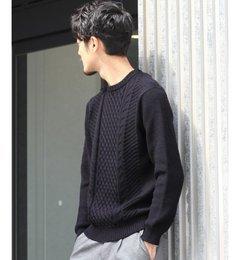 【エディフィス/EDIFICE】梳毛ミドルケーブルプルオーバーニット[送料無料]