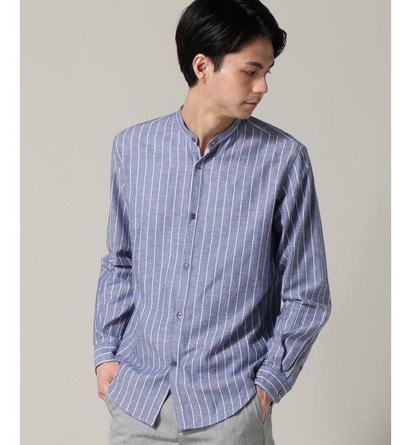 【エディフィス/EDIFICE】 C/W ストライプバンドカラーシャツ [送料無料]