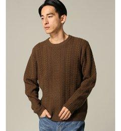 【エディフィス/EDIFICE】 7G カシミヤブレンドアランケーブル クルーネック [送料無料]