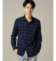 【エディフィス/EDIFICE】インディゴ×ブラウンセミワイドチェックシャツ[送料無料]