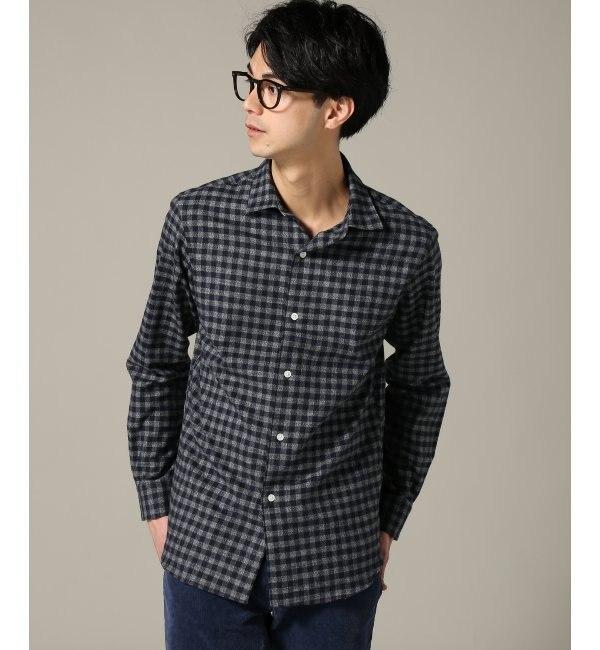 【エディフィス/EDIFICE】 メランジギンガムチェックネル セミワイドシャツ [送料無料]