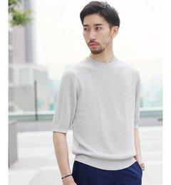 【エディフィス/EDIFICE】パティシエ五分袖クルーネックニット[送料無料]