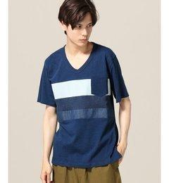 【エディフィス/EDIFICE】 インディゴドッキング VネックTシャツ [3000円(税込)以上で送料無料]