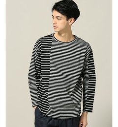 【エディフィス/EDIFICE】 【PULP】パネルボーダー ラウンドネックロングTシャツ [送料無料]
