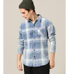 【エディフィス/EDIFICE】 インディゴチェックケミカルブリーチシャツ [送料無料]