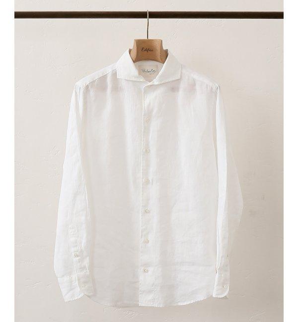 DELAVE LINEN ワンピースカラーシャツ【エディフィス/EDIFICE メンズ シャツ・ブラウス ホワイト ルミネ LUMINE】