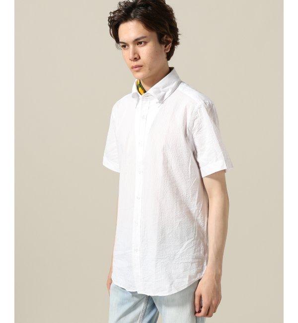 CIT/Belesto シャドーサッカー ボタンダウンシャツ【エディフィス/EDIFICE メンズ シャツ・ブラウス ホワイト ルミネ LUMINE】