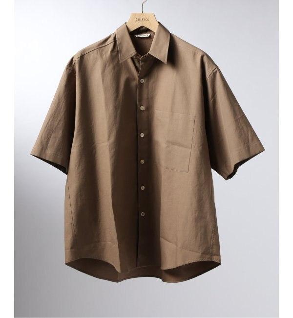 【エディフィス/EDIFICE】 AURALEE / オーラリー ウォッシュドフィンクス ツイルハーフスリーブド ビッグシャツ