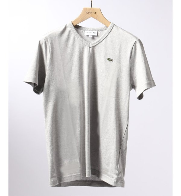 【エディフィス/EDIFICE】 LACOSTE / ラコステ テンジク Vネック ロゴ Tシャツ