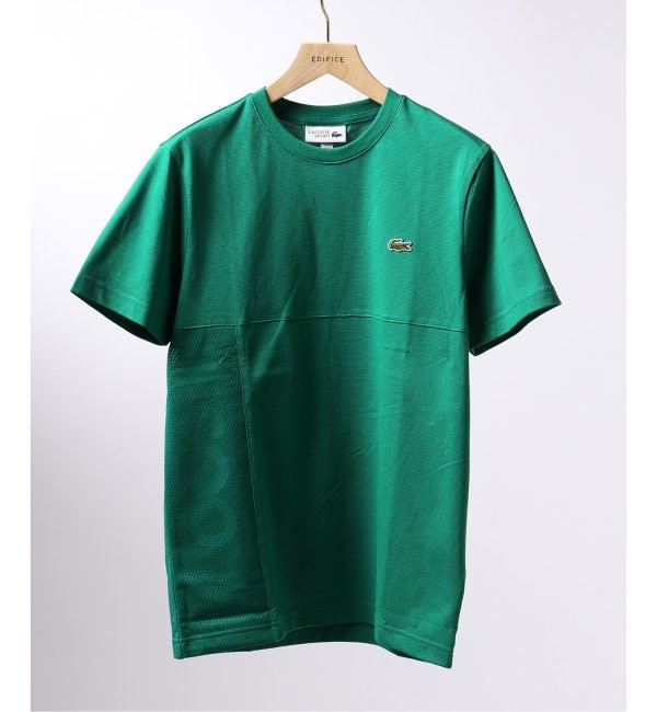 【エディフィス/EDIFICE】 LACOSTE / ラコステ メッシュレイヤー ロゴ Tシャツ