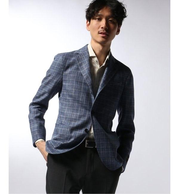 ファッションメンズお薦め|【エディフィス/EDIFICE】 タンピンジャケット ブルー カスリチェック