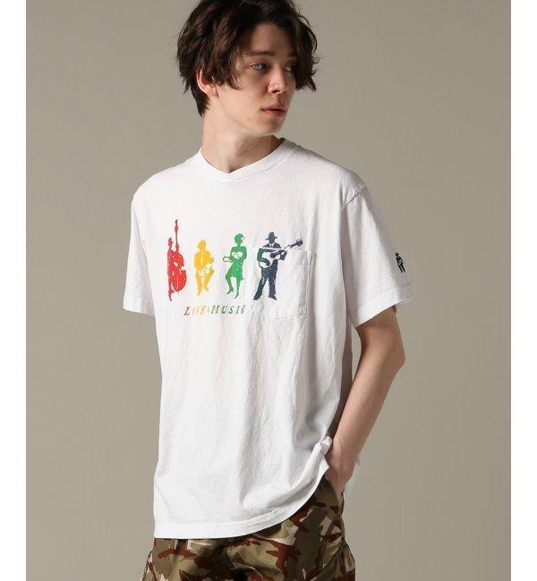 Engineered Garments / エンジニアードガーメンツ :Printed Cross Crew N【ジャーナルスタンダード/JOURNAL STANDARD メンズ Tシャツ・カットソー ホワイト ルミネ LUMINE】