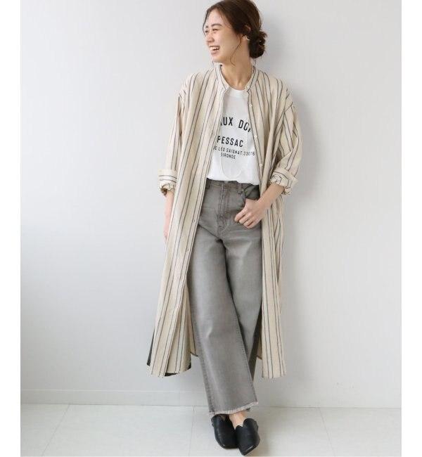 リネンストライプシャツワンピース◆