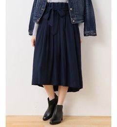 【スピック&スパン/Spick&Span】キュプラ/visバックサテンスカート[送料無料]