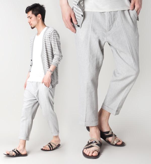 メンズファッションオススメ|NUリネン混クロップドパンツ