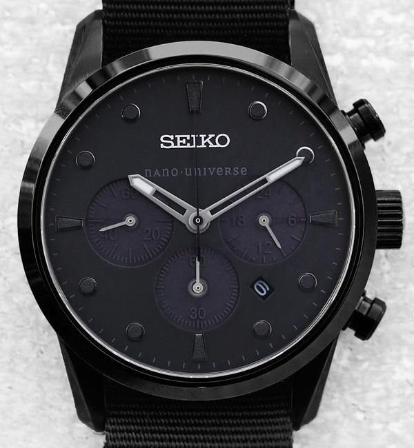 【ナノ・ユニバース/nano・universe】 SEIKO/別注Black StealthChrono [送料無料]