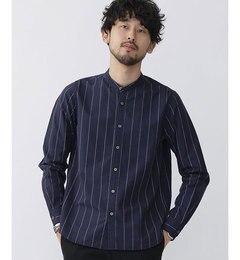【ナノ・ユニバース/nano・universe】起毛ストライプバンドカラーシャツ[3000円(税込)以上で送料無料]
