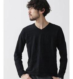 【ナノ・ユニバース/nano・universe】 リンクス総柄VネックTシャツ LS [3000円(税込)以上で送料無料]