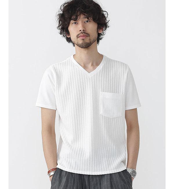 【ナノ・ユニバース/nano・universe】 //ケーブル編みVネックTシャツ [送料無料]