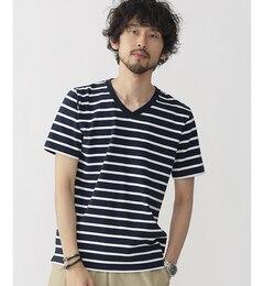 【ナノ・ユニバース/nano・universe】 米綿ボーダーVネックTシャツ [3000円(税込)以上で送料無料]
