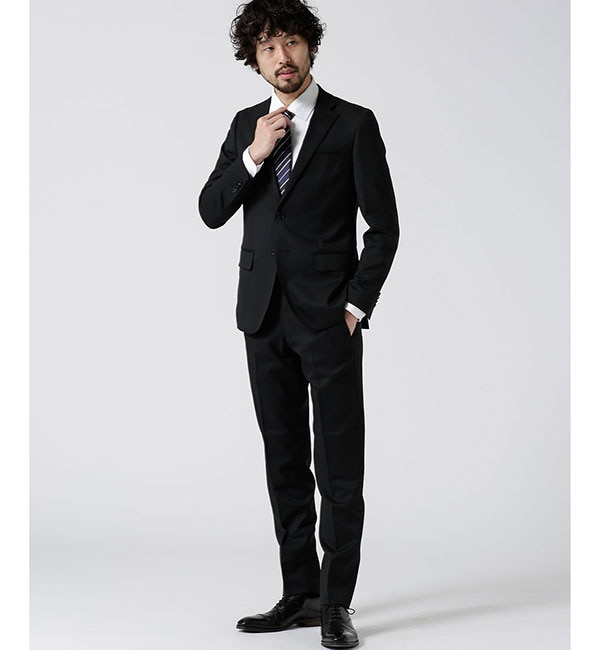 【ナノ・ユニバース/nano・universe】 【WEB限定】スーツ+ソリッド+スリム+ブラック