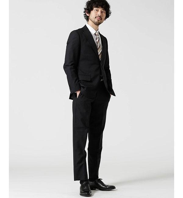 【ナノ・ユニバース/nano・universe】 【WEB限定】スーツ+ストライプ+スタンダード+ブラック