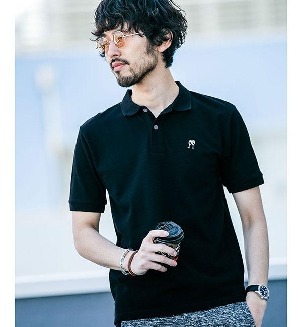 【ナノ・ユニバース/nano・universe】 【WEB限定】ソリッドカラー刺繍ポロシャツSS