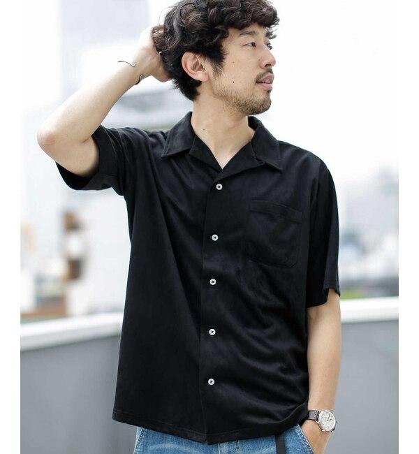 【ナノ・ユニバース/nano・universe】 《WEB限定》フェイクスウェードオープンカラーシャツ