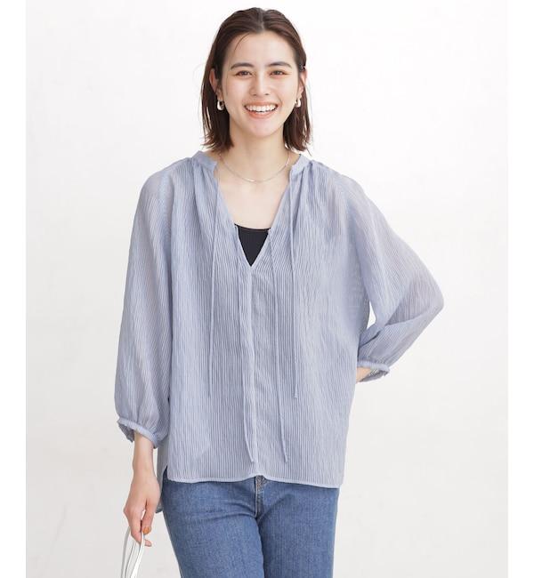 シアーストライプリボンシャツ 7分袖