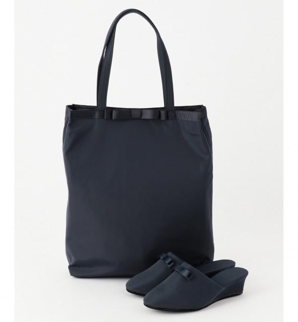 【クミキョク/組曲】 【2SET】リボンヒールスリッパ&サブトート バッグ