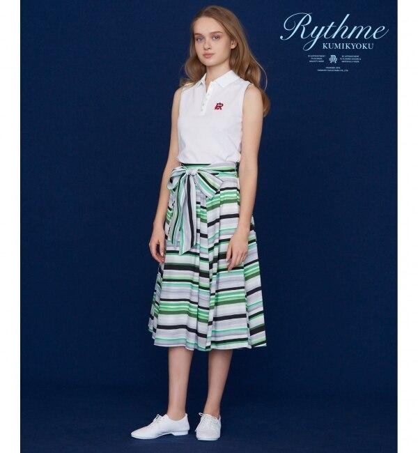 【クミキョク/組曲】 【Rythme KUMIKYOKU】ボーダープリントローン スカート