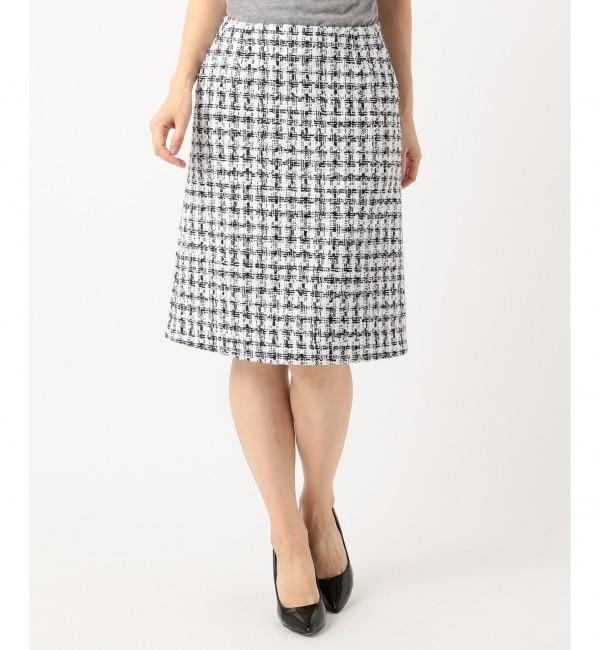 【ニジュウサンク/23区】 【セットアップ対応】CLALENSON チェックツイード スカート