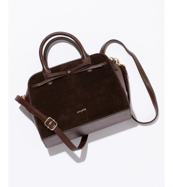 【エニィスィス/any SiS】 【ショルダー付き】リボンスエードミニボストン バッグ
