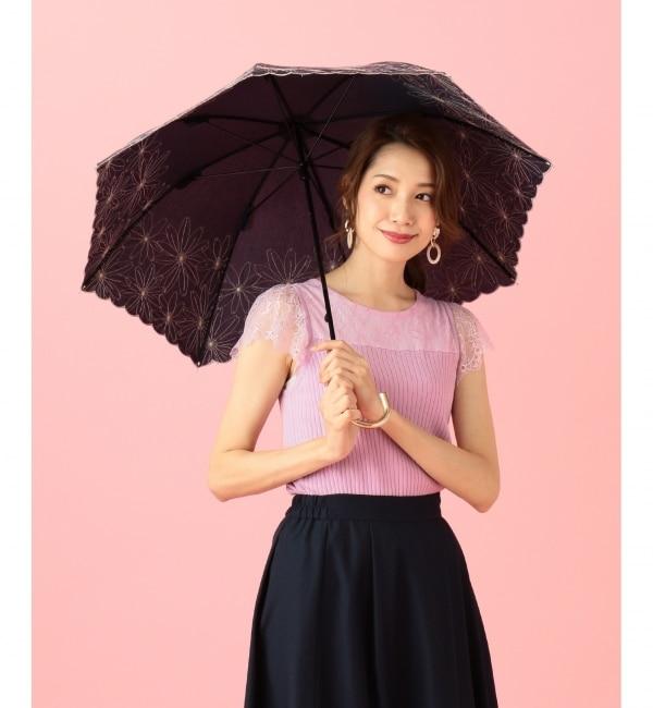 【エニィスィス/any SiS】 【晴雨兼用】フラワーエンブロイダリー パラソル(長傘・折りたたみ傘)