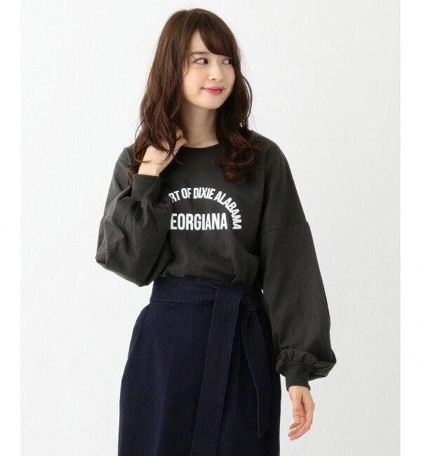 【エニィスィス/any SiS】 【L'aube】ロゴ ロング Tシャツ