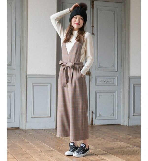 【エニィスィス/any SiS】 【WEB限定】L'aube・2WAYグレンチェックサロペット パンツ