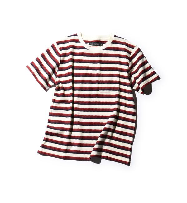 【ローズバッド/ROSEBUD】 MCT-16205 マルチボーダー半袖クルーネックTシャツ [送料無料]