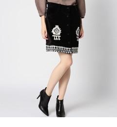 【ローズバッド/ROSEBUD】(HLAADAFORROSEBUD)刺繍入りボックススカート[送料無料]