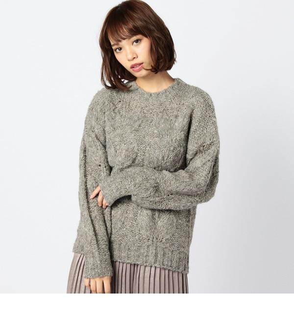 【ローズバッド/ROSEBUD】 (B.B)ウール混リーフ柄ニットプルオーバー [送料無料]