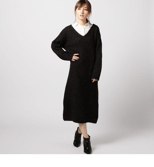 【ローズバッド/ROSEBUD】 Vネックニットワンピース [送料無料]