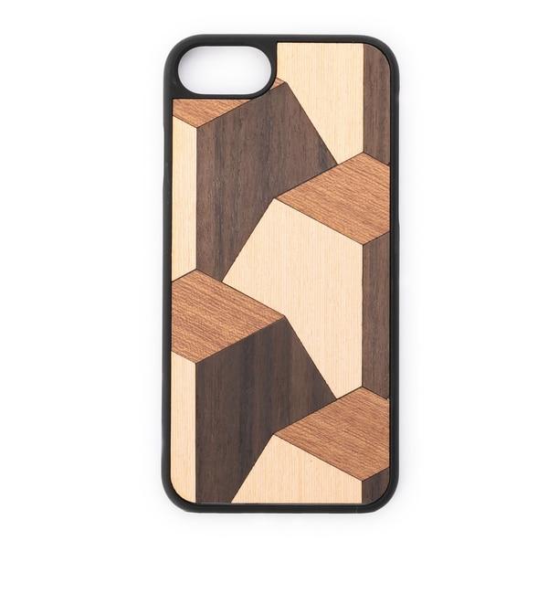 【ローズバッド/ROSEBUD】 (WOOD'D)木目幾何学柄iPhoneケース(7) [送料無料]
