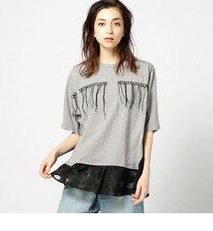 【ローズバッド/ROSEBUD】 (OKIRAKU)裾切り替えロゴ入り半袖Tシャツ [送料無料]