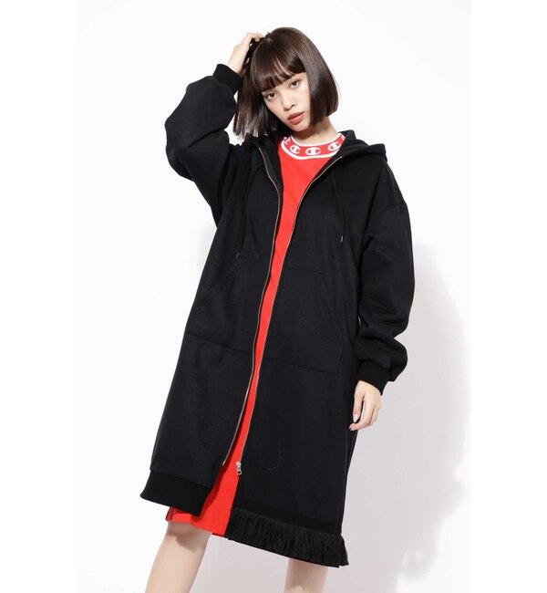 【ローズバッド/ROSEBUD】 バックプリントフーデッドロングジップドレス