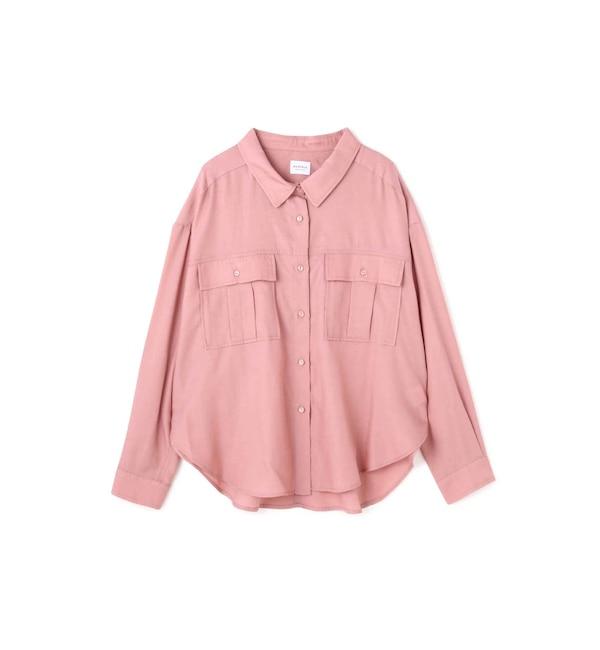 【ローズバッド/ROSEBUD】 とろみミリタリーシャツ