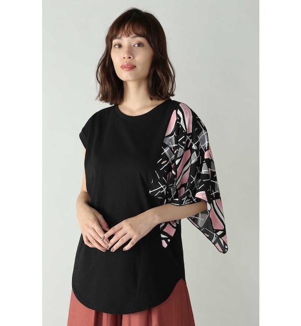 【ローズバッド/ROSEBUD】 アシメトリースカーフプリント柄Tシャツ