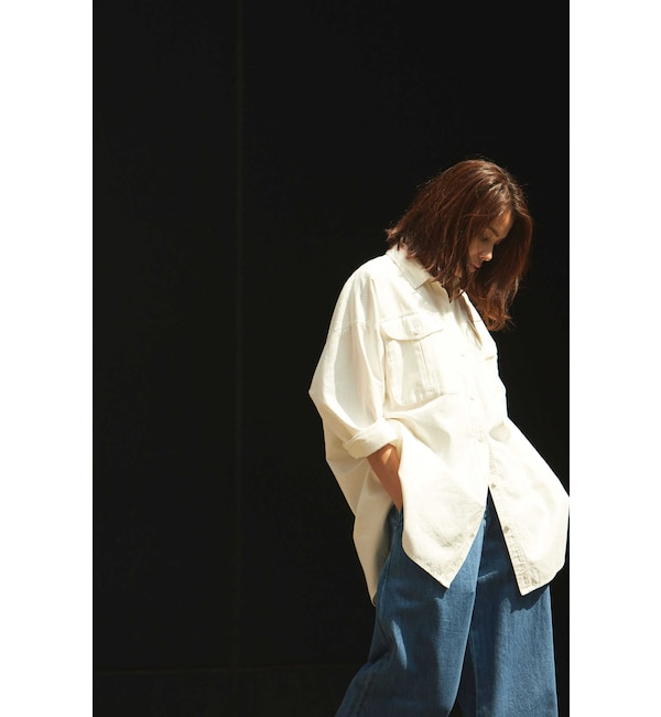 【ローズバッド/ROSEBUD】 2WAY COTTON HERRINGBONE BIG SHIRTS JACKET