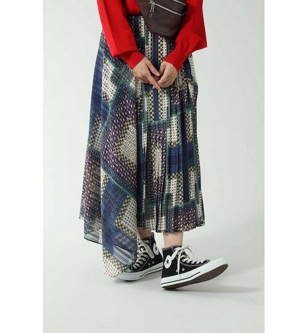 【ローズバッド/ROSEBUD】 アシメトリープリーツスカート